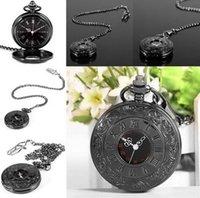 Wholesale Men Women Retro Vine Antique Steampunk Quartz Necklace Pendant Pocket Watch Black Watch Chain14 inch