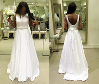 beach wedding dresses davids bridal - Custom Davids Arabic Wedding Dresses A Line Bateau Nigerian Wedding Low Back Modest African Bridal Gowns Court Train New Sash