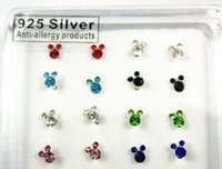 bars mouse - Set Sterling Silver Mixed Color Crystal Mickey Mouse Bar Bone Body Piercing Nose Stud