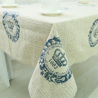 Wholesale Europe Style linen cotton tablecloth dust proof letter pattern rectangular table cloth home party hotel supply high quality