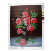 antique embroidered - 5D DIY Blooming Rose Restaurant Embroidered Faux Diamond Square Full Diamond