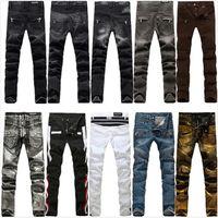 all'ingrosso pantaloni dimagranti-BALMAIN Jeans Men pista motociclista scarni sottili denim pantaloni del cowboy di marca della chiusura lampo dei pantaloni Balmain strappato Jean progettista caldi di vendita Man Stretch Jeans