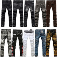 american jeans brands - BALMAIN Jeans Men Runway Biker Skinny Slim Denim Trousers Cowboy Brand Zipper Pants BALMAIN Ripped Jean Hot Sale Designer Man Stretch Jeans