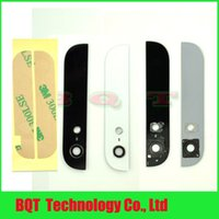 Wholesale For iPhone Top and Bottom Glass Back Rear Cover Glass Camera Sticker Tape Black white Guarantee