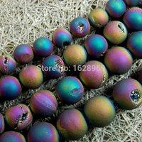 Wholesale Ag5Strands Rainbow Metallic Titanium Coated Natural Druzy Quartz Agate Round Loose Beads quot mm mm mm mm