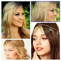 Wholesale Beach MultiLayer Metal Gold Plated Head Chain Hair Jewelry Tassel Pearl Leaves Bindi hair accesories Boho Headband Wedding Bridal Hair XR
