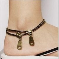 Wholesale by DHL Hot sale New Fashion Jewelry Punk style Metal Barefoot Sandal Zipper Zip Anklet Bracelet RJ1021