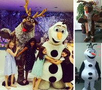 Cheap Cartoon Character Adult Frozen Sven & Olaf Snowman Mascot Outfit Fancy Dress Christmas Deer Costume