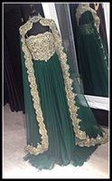baile fashion - Sexy Emerald Long Evening Dresses With Sleeves Caftan Abaya In Dubai Arabic Dress Musilim Formal Dresses Evening Gowns Vestido Baile