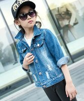 big jean jacket - New Hot Sale Fashion Hot Sale Cool Children Outerwear Coats Solid Jean Coats Of Big Young Teenager Turn downn Collar Girls Costume