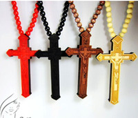 wooden cross necklace - 10PCS Unisex Wood Necklace Cross Hip Hop Pendant Necklace Wood Hip Hop Necklace Wooden Beads Necklace Wooden Jewelry