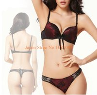 Cheap Wholesale-2pcs lot Bra Sets For Women Triumph Lingerie Luxury Sexy Lace Underwear Push Up Straps Light Up Cotton Embroidered Satin Brief