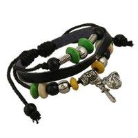 american flag helmet - High Quality Steampunk Natural Infinity Leather Bracelets Bracelets for Men Charms Bracelets With Wood Stainless Helmet Sword Dangle B01373