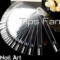 Wholesale 50 CLEAR False Display Nail Art Fan Wheel Polish Practice Tip Sticks False Display Nail Art Fan