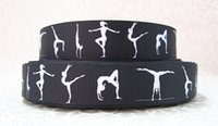 Wholesale 50yards quot mm black and white Gymnastics printed Grosgrain Ribbon