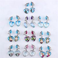 Wholesale Anna Elsa Princess Heart shaped ear clip glass child ear clip gift ear cuff W0048