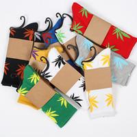 Cheap 33 colors Hot Crew high Socks Skateboard hiphop socks Leaf Maple Leaves Stockings Cotton Unisex Plantlife Socks 50pair