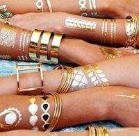 tatouage - 2015 new sex product temporary tattoo necklace choker bracelet flash tatoo henna tatouage metalic gold tattoos fake body art JIA034