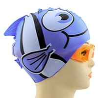 Wholesale Sliicon Waterproof Swimming Cap Silicon Diving kids Cartoon Cap Blue Fish