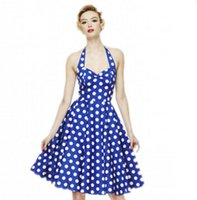 Cheap Wholesale-Audrey Hepburn Vestidos Women Summer Stlye Spaghetti Strap Retro Cute Polka Dot Dress Pin Up Rockabilly Vintage 50s 60s Dresses