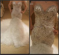 Wholesale Charming Amazing Crystal Bead Sequins Real Image Luxury Mermaid Wedding Dresses Cascading Ruffle Court Train Sexy Bridal Gowns Vestidos Chic