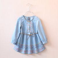 Wholesale Fashion Long Sleeve Dresses Children Clothes Kids Clothing Spring Shirt Dress Princess Dresses Korean Girl Dress Flower Dresses