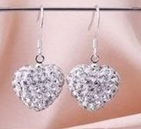Wholesale wedding gift hot best Mix Colors white disco Ball beads clay heart drop Dangle Shamballal Crystal Earrings Stud women