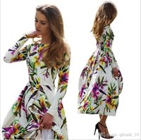 Cheap 300 BBA4349 2015 women European America printed flower dress fashion slim dress Bohemia floral dress Full skirted dress party casual dresses