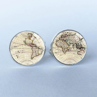 Wholesale 1 pair World Map Cufflinks Silver plated Old World Map Cuff links for men and women Accessories Antique Vintage cufflinks