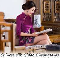 Wholesale 2015 hot selling Peony flower Vintage Cheongsams Chinese silk Qipao Chinese style dress Chinese Traditional Dress drop shipping