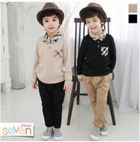 collar t-shirt - 2015 Best Sale Korean Style Boys Gentleman Two Pieces Set Turn down Collar T shirt And Pants Kids Clothes