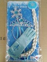Wholesale Frozen full finger gloves for halloween Christmas party frozen queen elsa gloves Elsa Cosplay Costume Snow Queen Anime gloves coronation