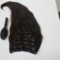 al por mayor 17 extensiones-Smooth clip del pelo humano de las extensiones del pelo brasileño Dyeable pelo de Remy Negro 160g Cabello / pcs Personalizar Longitud Color de 17