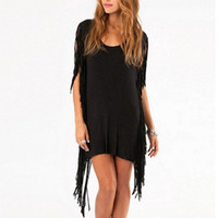 Wholesale Women Fringe Party Dress With Hippie and Tassel Asymmetric Summer Mini Club Dresses Black Gray New Arrival