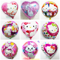 baloon toys - 10pcs cartoon hello kitty foil balloon helium ballon for birthday party decoration air baloon classic toys globos