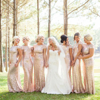 Wholesale Sequined Beach Bridesmaid dresses Sheath Scoop Floor Length Short Sleeves Cowl Back Long Evening Gowns W6059