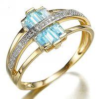Asian & East Indian aquamarine stone - Sale Size Jewelry Gorgeous Blue Aquamarine Halo K Yellow Gold Filled Women s Engagement Rings R015YBA