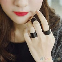 Cheap Wholesale-3Pcs New Fashion Ring Set Black Stack Plain Above Knuckle Ring Band Midi Rings 1OPA