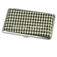 Cheap Free Shipping New Stylish Elegant Pocket Leather&Metal Slim Cigarette Case Hold For 14 Pieces 100mm Tobacco Pipes Cigar Box