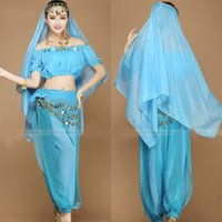 belly dancer costumes - New Women Halloween Cosplay Party Wedding Belly Dancer Aladdin Princess Jasmine Costume Adults
