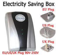 Wholesale 2014 New Type Power Saver Electricity Saving Box Energy Save Electricity Bill device V V EU US UK Three specifications Plug
