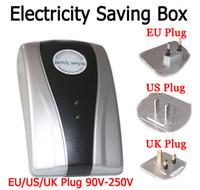 Wholesale 2014 New Type Power Saver Electricity Saving Box Energy Save Electricity Bill device V V EU US UK Three specifications Plug