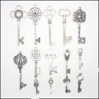 antique vintage jewelry - Mixed Vintage Charms Key Pendant Antique silver Fit Bracelets Necklace DIY Metal Jewelry Making