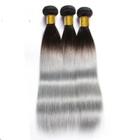 two tone hair extensions - Ombre Human hair weave Brazilian Straight Hair Two Tone B Silver Grey hair wefts Peruvian Malaysian Indian Human Hair Extensions
