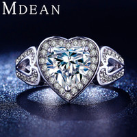 Wholesale white gold plated ring Cubic Zircon diamond Heart shaped ring jewelry for women engagement bijoux wedding accessories MSR193