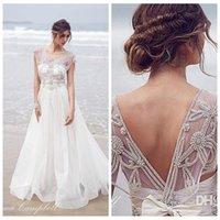beatiful dress - 2016 New Beatiful Anna Campbell A Line Wedding Dresses Scoop Crystal Beading Sheer Boho Beach Organza Long Plus Size Open Back Bridal Gowns