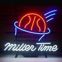 basketball displays - 17 quot x14 quot Miller Time Basketball Sport design Real Glass Neon Light Signs Bar Pub Restaurant Billiards Shops Display Signboards