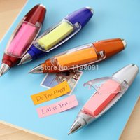 Wholesale Multifunctional Promotional Ballpoint Pens Sticky Notes LED light Pen pluma with lanyard colors