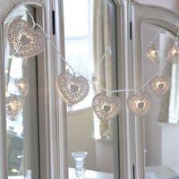 battery led light timer - White Metal Heart Battery Fairy String LED Lights with Timer Warm White LED by Festive Lights