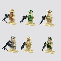 Wholesale 6pcs plastic policeman Team Police Officer Tactical Unit Minifigure with Weapon Classic figures Best Children Gift toys